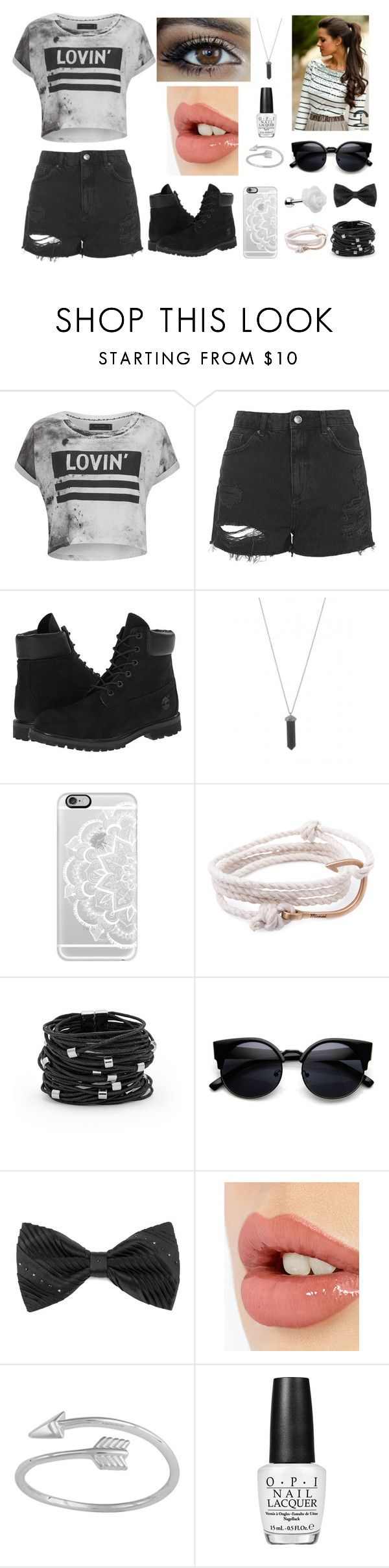 """""""black and white"""" by tashadasz98 on Polyvore featuring Religion Clothing, Topshop, Timberland, Karen Kane, Casetify, MIANSAI, Chico's, Charlotte Tilbury, OPI and women's clothing"""