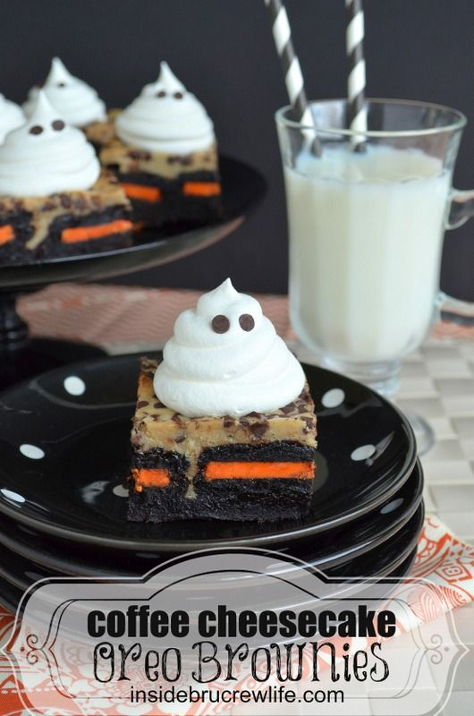 Coffee Cheesecake Oreo Brownies with Cool Whip ghosts