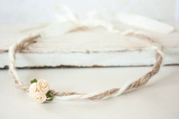 Newborn Headband Tie Back Cream Ribbon Roses by BeautyfromashesUSA