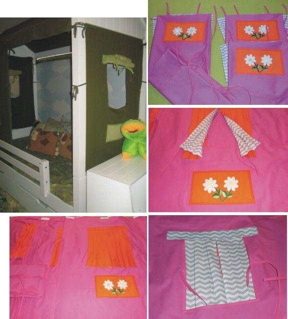 Conjunto de casinha para cama baixa com parede rosa escura e cortina cor de laranja na parte externa e Chevron na parte interna. 3 janelas com bolso na cor de laranja com aplicação de flores e 1 telhado. Decorative fabric house with 3 windows and 1 roof. Pink color.