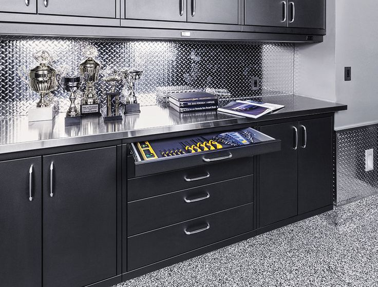 Image Result For Black And Diamond Plate Cabinets Garage