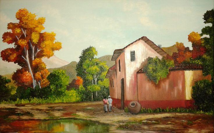 Gema Silva Paisaje costumbrista óleo sobre tela de 70 x 50 (réplica)