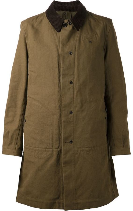 $783, Olive Overcoat: Comme des Garcons Junya Watanabe Comme Des Garons Man Long Coat. Sold by farfetch.com. Click for more info: https://lookastic.com/men/shop_items/139224/redirect