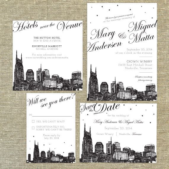 Nashville Skyline Destination Wedding invitation  SAMPLE ONLY67 best Wedding Invitations Pixie Chicago images on Pinterest  . Nashville Wedding Invitations. Home Design Ideas