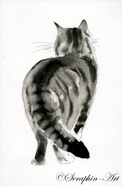 2011-02-179 cat watercolor drawing   – Cats Galore