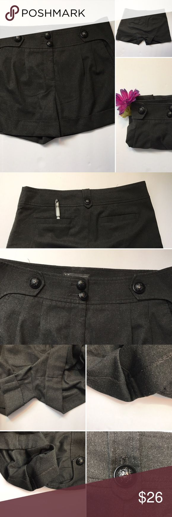 A/X Armani exchange shorts 🚭Cutest little shorts ever. Armani exchange AX with gorgeous buttons. One button is a little loose probably should be tightened. Please see all pictures there is a little pearling to the material where rubs. Please see pictures closely see tags for size, materials and washing instructions. Very dark gray almost black. A/X Armani Exchange Shorts