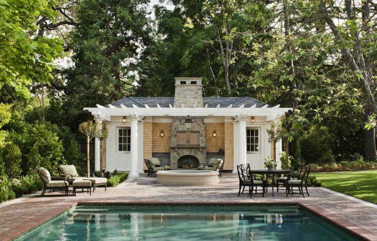 spanish colonial homes central courtyard pool   Pool Houses   John Malick & Associates