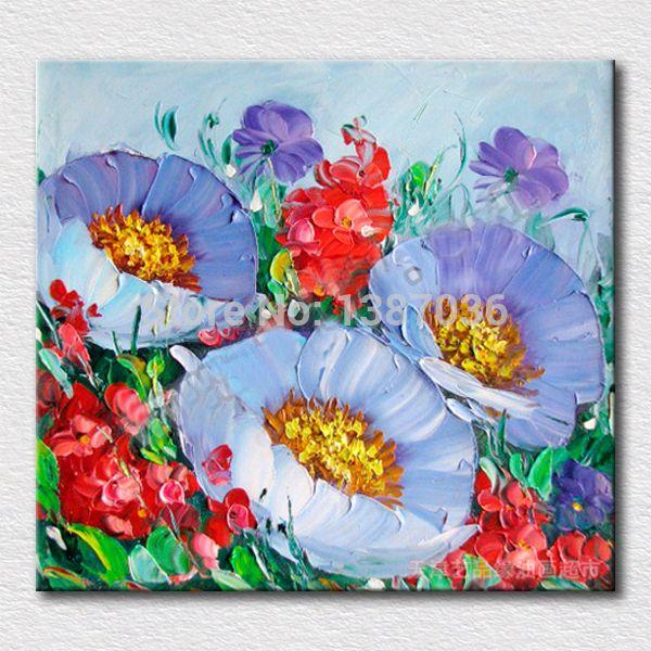 100% el boya modern yağlıboya palet bıçak dokulu yağlıboya tuval duvar sanatı tuval modern dekoratif çiçek(China (Mainland))