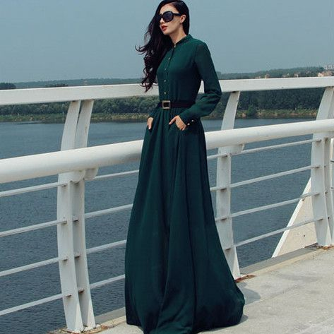 Long Sleeves Chiffon Button Decorate Pleat Long Maxi Dress #maxidress #chiffonDress #longdress