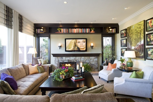 Traditional family room furniture placemen around tv design pictures remodel decor and ideas for Hanging family pictures in living room