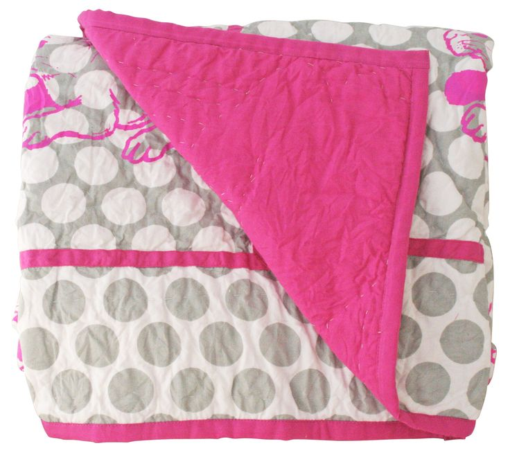 Alimrose Mollie Cot Quilt Grey & Pop Pink Bunny Print 100xm x 120cm - So gorgeous! Soft cotton cot quilt 100cm x 120cm in pretty soft gret polka with pop pink bunny print and border.