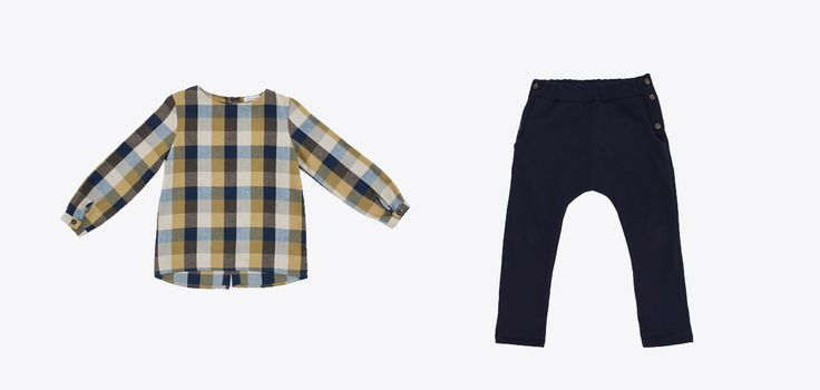 GW18201-26 Tartan shirt /blue and mustard-coloured UW18601-7 Pants /color blue