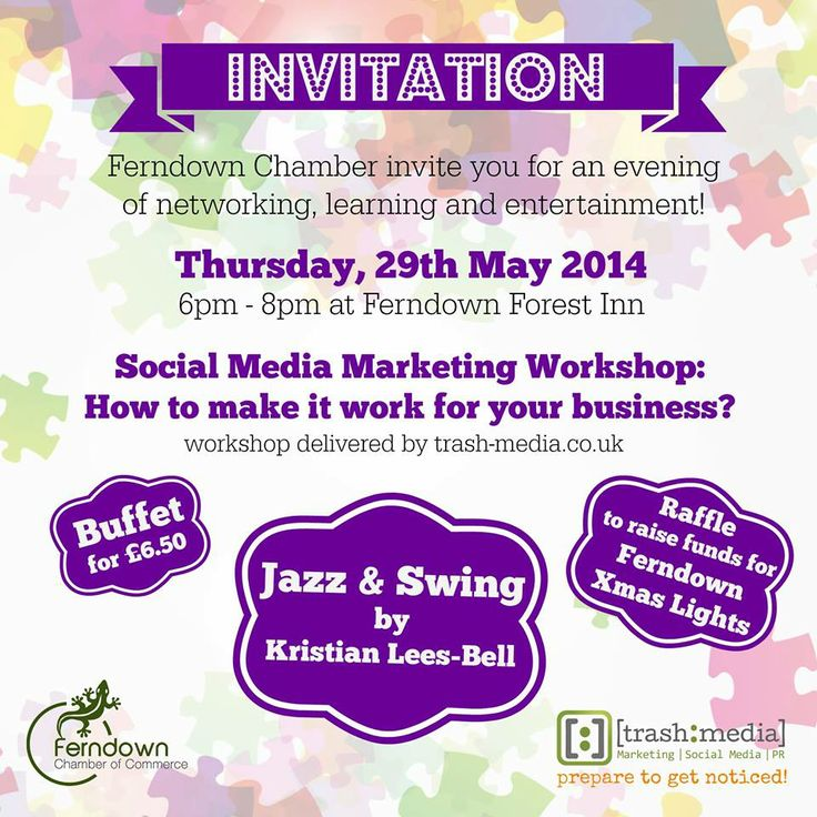 Ferndown Chamber May 2014 Event: #SocialMedia, Entertainment and Food! Why not join us on Thursday, 29th May!