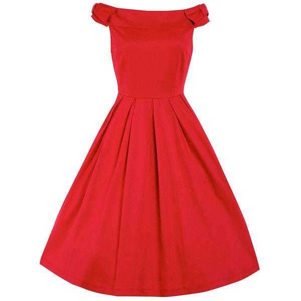 Christie Red Off Shoulder Swing Dress