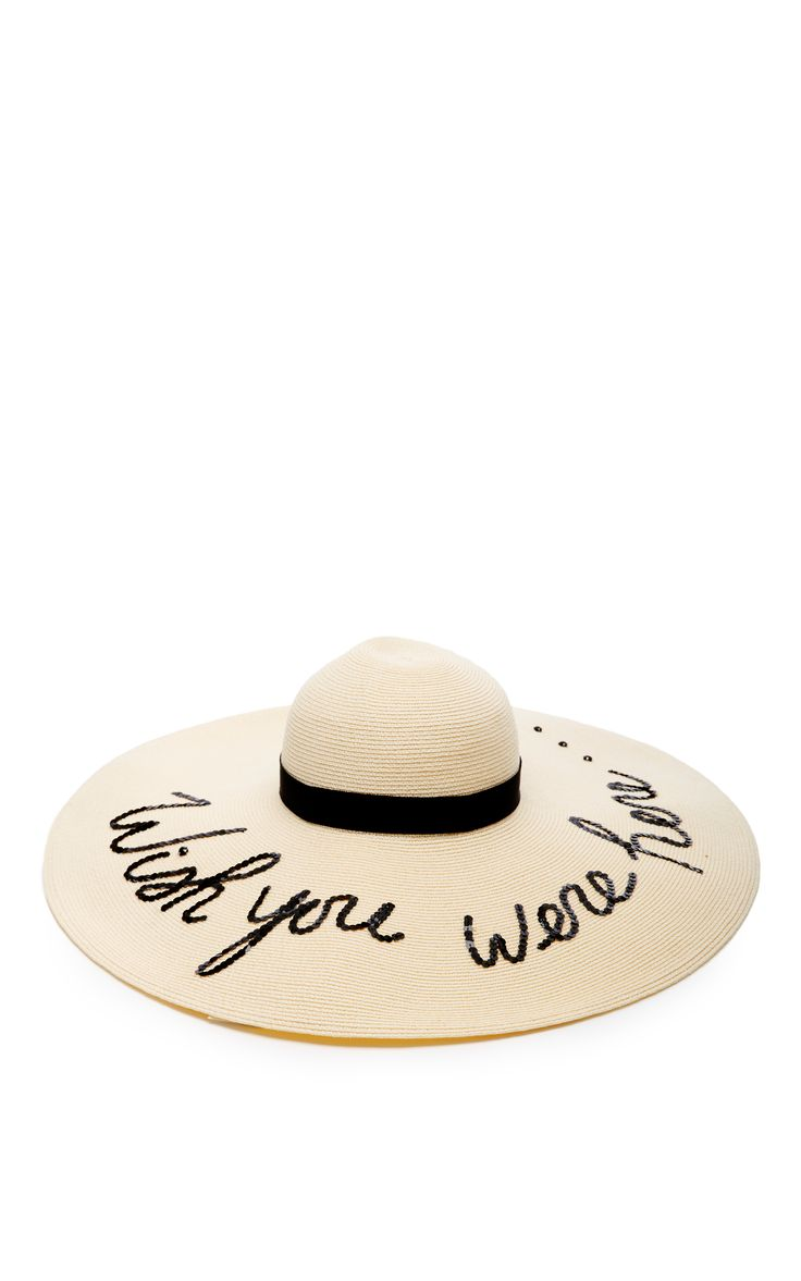 Sunny Floppy Brimmed Hat With Black Sequined Script by EUGENIA KIM Now Available on Moda Operandi