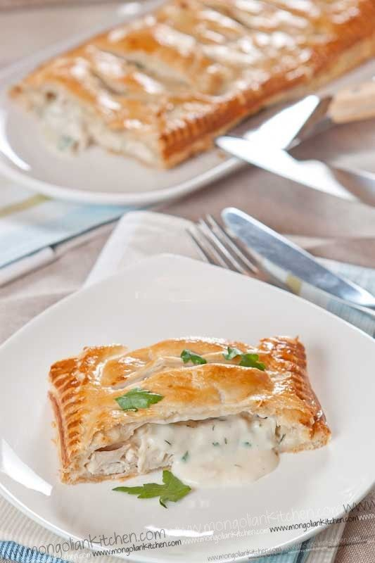 Creamy Chicken Pie Recipe - How to Make a Puff Pastry Chicken Pie with Bechamel filling   MongolianKitchen.com