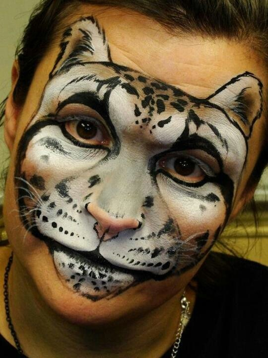 Leopard face painting by artist Christina Davison