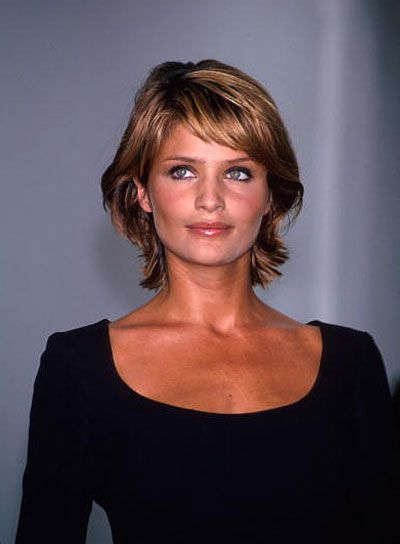 Helena Christensen Short, Chic, Brunette Shag with Bangs. This is what my hair looks like now, but why don't I look like that!