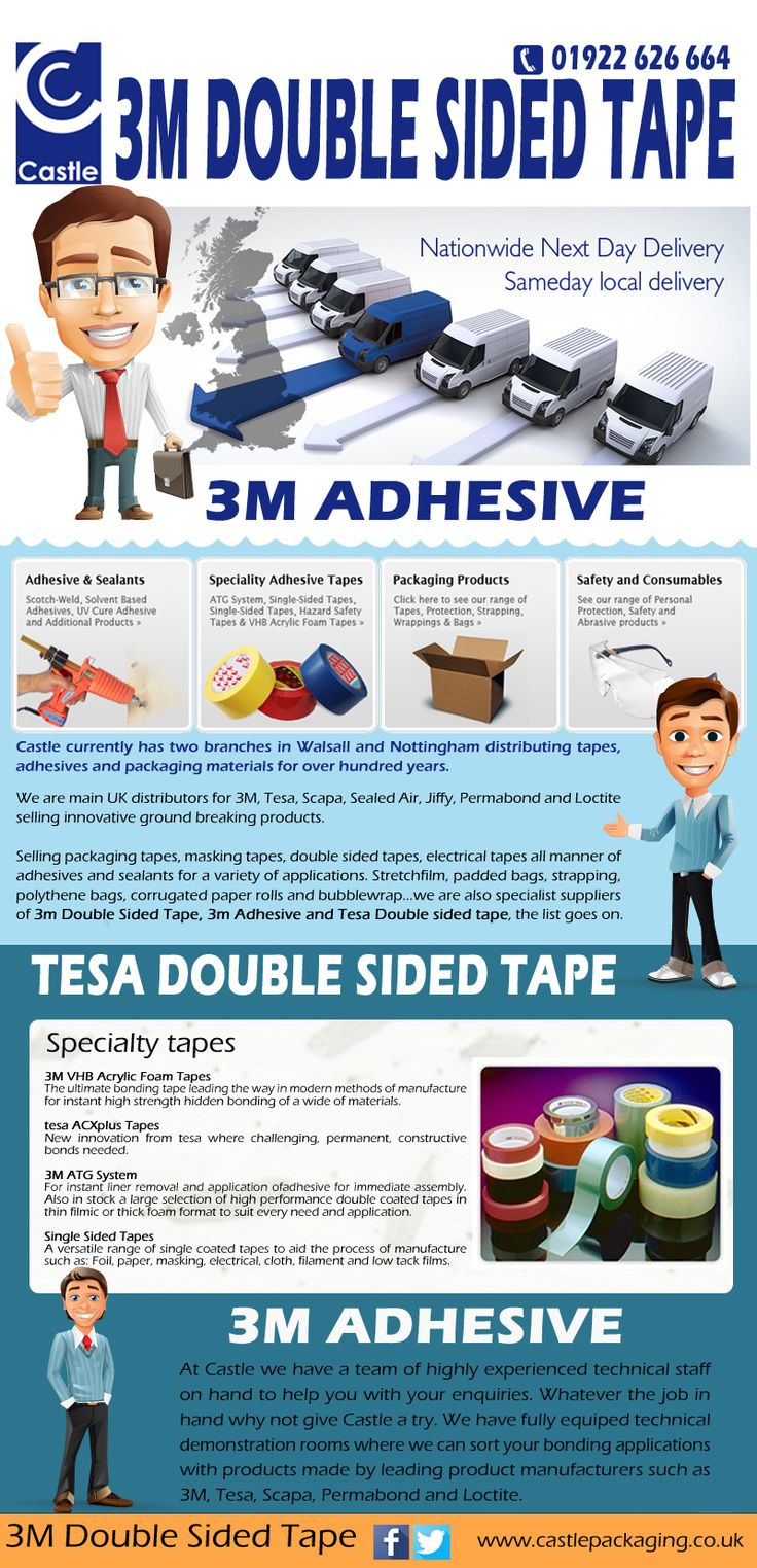 Visit this site http://www.castlepackaging.co.uk for more information on 3M Adhesive.Various types of 3M Double Sided Tape is available these days which can be made use of for a wide variety of functions. These tapes include strips of paper or fabric which are coated with any kind of type of sticky substance that allows it to stay with areas.