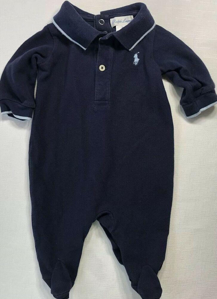 4580968d5 Ralph Lauren Boys 3 Months Navy Blue Polo Footed Pique Polo Romper One  Piece #RalphLauren #Everyday