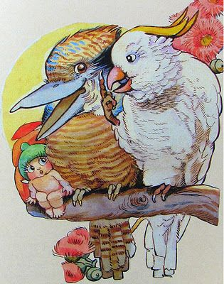 Snugglepot with a kookaburra and a white cockatoo by (Cecelia) May Gibbs. Love this one @Patricia Johnston
