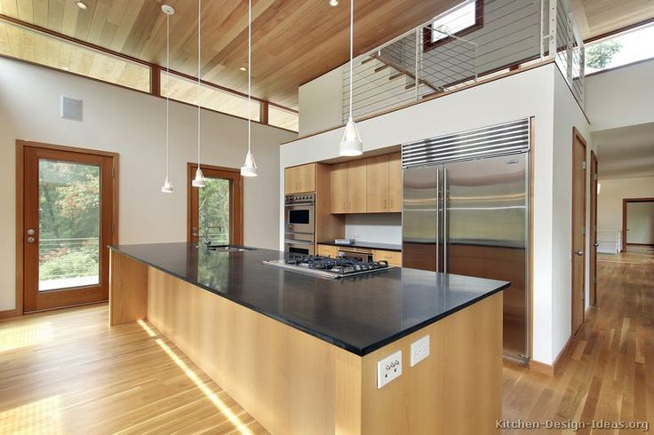 Kitchen Of The Day Contemporary Kitchen With High Ceilings Light Wood Cabi