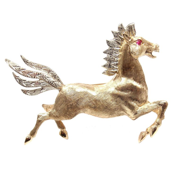 Tiffany & Co. Horse Ruby Yellow And White Gold Brooch   From a unique collection of vintage brooches at https://www.1stdibs.com/jewelry/brooches/brooches/