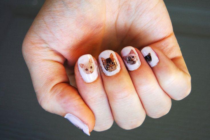 Cute cat nail art.