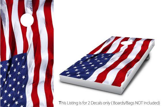 US American Flag 1  Cornhole Wrap set 2 by StickitGraphixllc