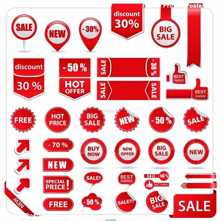 Poster of Vector red price tags, labels, stickers, arrows and ribbons, Business Posters, #poster, #printmeposter, #mousepad, #tshirt