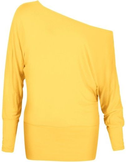 FASHION WARDROBE - ON / OFF SHOULDER - BATWING - TOP -- BRIGHT YELLOW