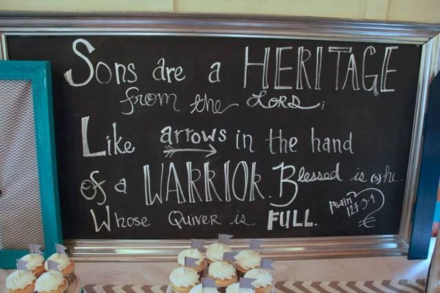"Arrow, ""Sons are a heritage from the Lord."" Baby Shower Party Ideas 