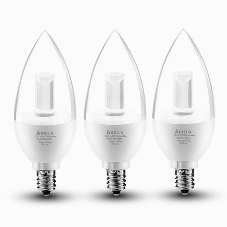 Candle LED Bulbs, ARILUX E12 Dimmable Light Bulbs, LED 4.5-Watt Warm White 3000K Chandelier Bulb, LED Light Bulbs Candelabra Base, 120V, UL Listed(3 Pack)