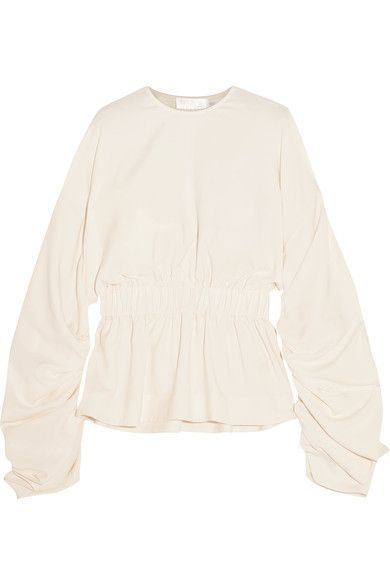 Solace London - Macy Ruched Crepe Top - Cream