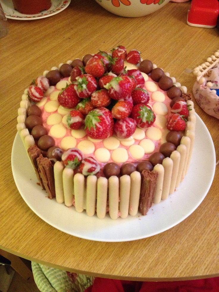 Strawberry and chocolate birthday cake :)