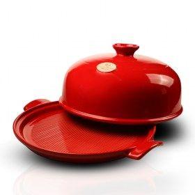 immagine del Cuoci pane rosso con coperchio aperto, dimetro 28 cm/ Emile Henry