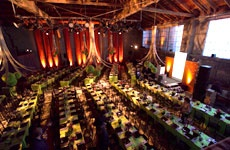 DOG PATCH STUDIOS FOR RECEPTION (SF): If we rent this space, I could create an elegant reception with Asian (i.e., Yank Sing) catering in this room, with dramatic fabric hangings, asian flair, and custom round tables and cloth-covered chairs. Rental $3,500-6,000.