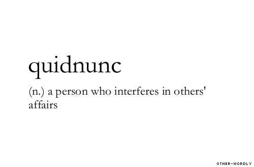 Quidnunc Definition Source Other Wordly