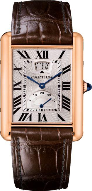 Tank Louis Cartier watch XL model, 18K pink gold, leather