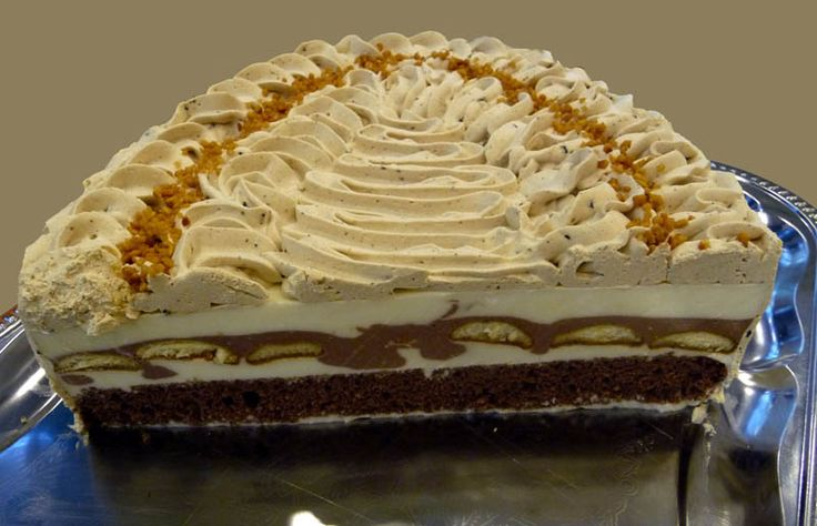 Prierez z veľkého oválu (tu je 1/3) ktorý som doniesla na stretko v Blave. Tmavý korpus, biela a kakaová tvarohovo-jogurtovo-smotanová hmota, medzitým piškóty namočené v káve, hore cappuccinová šľahačka + posýpka lieskovcový krokant. (cake) Recept (cake) Upečieme si kakaovú piškótu zo 4 vajec a dáme ju na dno formy, na ňu vylejeme tvarohovú hmotu - tri krát si tvarohovú hmotu pripravíme Kávová tvarohovo-jogurtová torta + recept., Inšpirácie na originálne torty Narodeninové torty