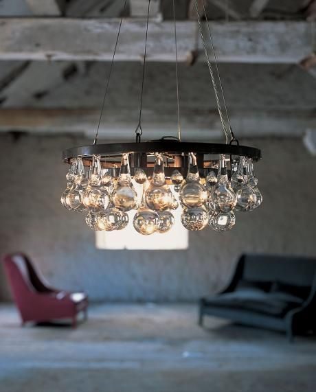 Arctic Pear Chandelier - round 45cm. Featuring a patinated bronze of nickel frame with solid clear glass drops in 3 tiers.    OCHRE lighting design