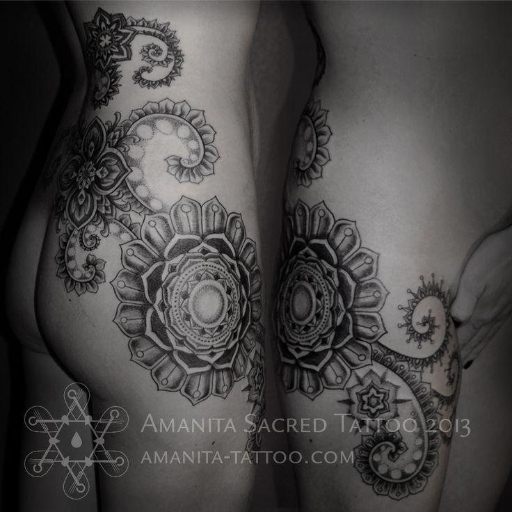Wrap around #flower hip #tattoo http://amanita-tattoo.com/wp-content/uploads/2013/07/2013_04_1.jpg