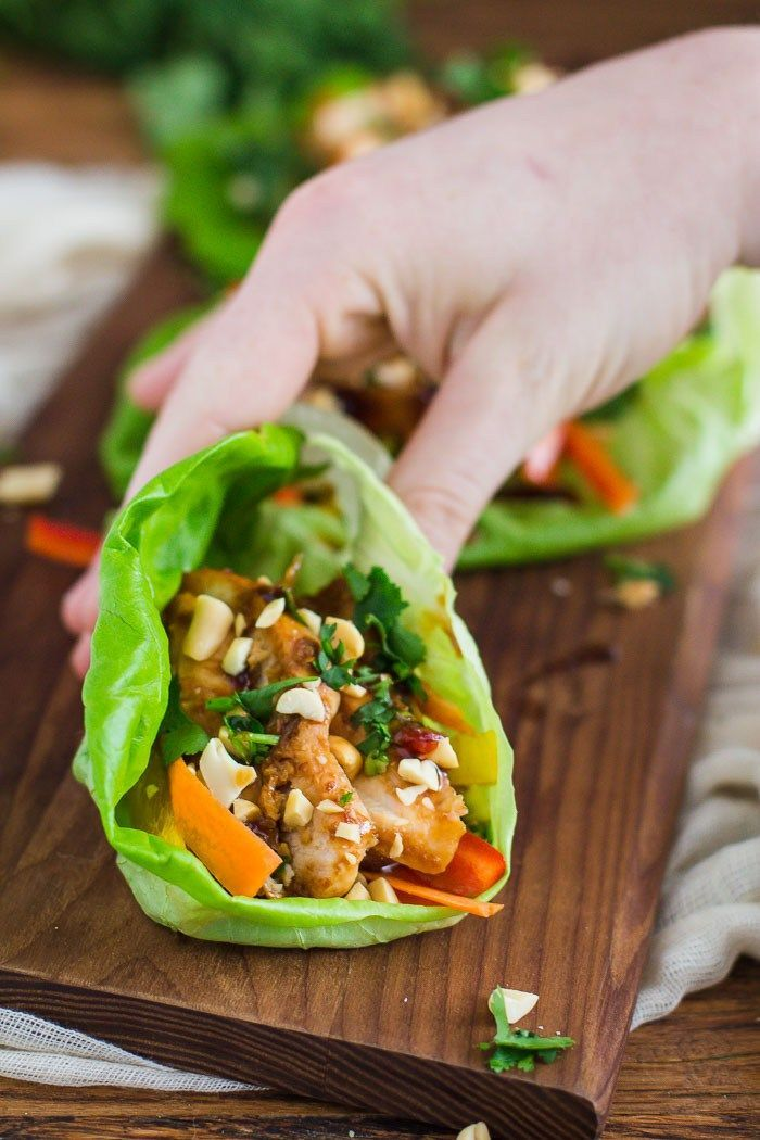 Healthy Thai Chicken Lettuce Wraps. These are easy to put together and make for a perfectly healthy (and delicious) lunch or dinner.