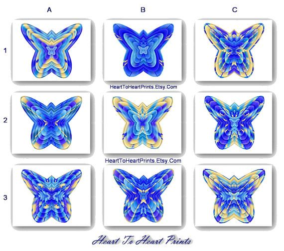 Aqua Blue White Wall Art Butterfly Royal Blue Wall Decor Shabby Chic Rustic Digital Painting Set of 4 Kids Bedroom Bathroom Playroom Picture