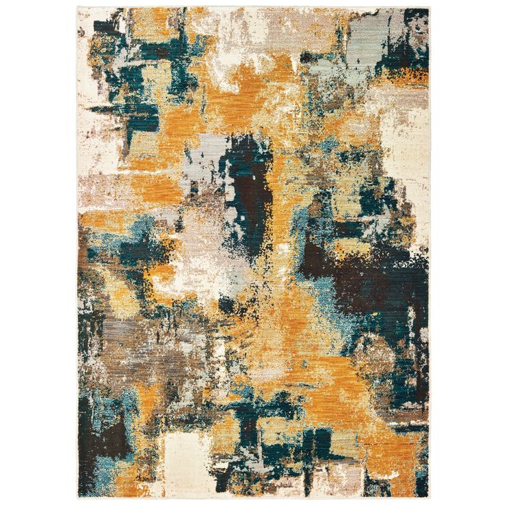 Strick Amp Bolton Mily Blue Gold Abstract Area Rug