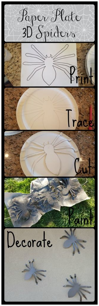 This is a fun and easy tutorial to make a 3D spider to add to your Halloween decor.  It is a fun craft for the kids and comes with a printable pattern to trace the spider onto a paper plate.  It's very quick and a great idea for Halloween party decorating