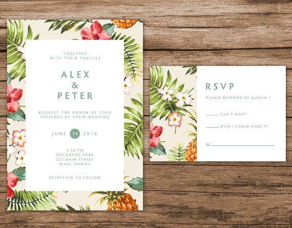 Tropicales de la boda invitación, invitación hawaiana, invitaciones de boda de destino