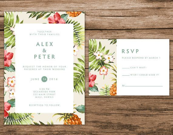 Etsyで見つけた素敵な商品はここからチェック: https://www.etsy.com/jp/listing/238384761/tropical-wedding-invitation-hawaiian