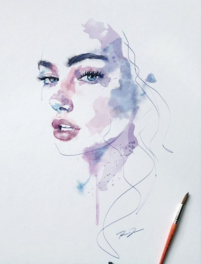 1000drawings By Robert Dean Watercolor Face Watercolor Art