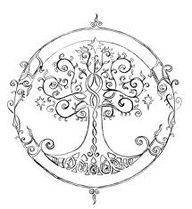 "Tree of life tattoo between shoulder blades with ""courage family hope love peace"" around it"